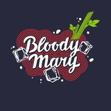 Modern hand drawn lettering label for alcohol cocktail Bloody Mary. Stock Images