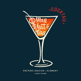 Modern hand drawn lettering label for alcohol cocktail Manhattan Stock Images