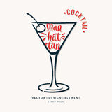 Modern hand drawn lettering label for alcohol cocktail Manhattan Royalty Free Stock Images