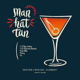 Modern hand drawn lettering label for alcohol cocktail Manhattan Stock Photo