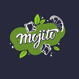 Modern hand drawn lettering label for alcohol cocktail Mojito. Royalty Free Stock Images