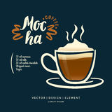 Modern hand drawn lettering label for coffee drink Mocha. Royalty Free Stock Photo
