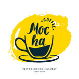 Modern hand drawn lettering label for coffee drink Mocha. Stock Images