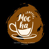 Modern hand drawn lettering label for coffee drink Mocha. Stock Photo