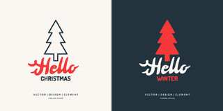 Modern hand drawn lettering phrase Hello winter. 2017. Merry Christmas and Happy New Year. Modern hand drawn lettering phrase Hello winter.Handwritten Royalty Free Stock Photos
