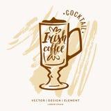 Modern hand getrokken van letters voorziend etiket voor het Irish coffee van de alcoholcocktail Royalty-vrije Stock Afbeelding