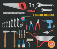Modern hand tools. instruments collection. For metalwork, woodwork, mechanical and measuring works Stock Photo