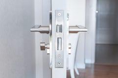 Modern Handle steel knob on the door Stock Photos