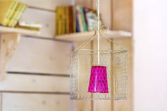 Modern hanging cone lamp. pink color. Modern hanging cone lamps different colors royalty free stock photos