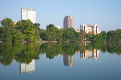 Modern Hanoi. Lake Hoankyem panorama in the sunny day Stock Photography