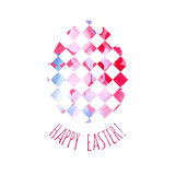 Modern Happy Easter template for greeting card or invitation design with bright egg and watercolor splash. Happy Easter greeting card. Modern Happy Easter royalty free illustration
