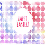 Modern Happy Easter template for greeting card or invitation design with bright egg and watercolor splash. Happy Easter greeting card. Modern Happy Easter vector illustration
