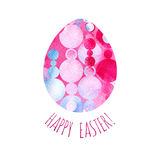 Modern Happy Easter template for greeting card or invitation design with bright egg and watercolor splash. Happy Easter greeting card. Modern Happy Easter stock illustration