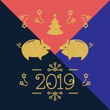 Modern Happy New Year card - 2019 year of the pig, Holiday card. Golden pigs and number 2019 on a colorful minimal. Modern Happy New Year card - 2019 year of the royalty free illustration