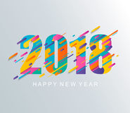 Modern Happy New Year 2018 design card. Stock Photo