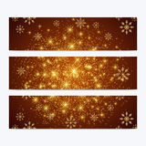 Modern Happy New Year set of vector banners. Christmas background. Design templates with snowflakes. Invitation cards Royalty Free Stock Photos