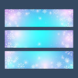 Modern Happy New Year set of vector banners. Christmas background.. Design templates with snowflakes. Invitation cards surface Royalty Free Stock Photos