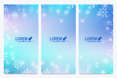 Modern Happy New Year set of vector flyers. Christmas background. Design templates with snowflakes. Invitation cards. Surface Stock Images
