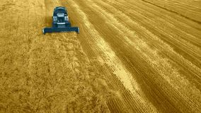 Modern harvest velhice combine tractor harvester harvests crops in the field, aerial fly top vew, design, abstract, with royalty free illustration