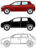 Modern hatchback car in three different types Stock Photos