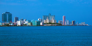 Modern Havana. Skyline of modern Havana and Caribbean sea, Cuba Royalty Free Stock Image