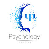 Modern head logo of Psychology. Profile Human. Creative style. Logotype in vector. Design concept. Brand company. Blue color isolated on white background stock illustration
