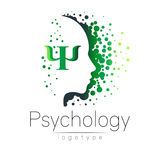 Modern head logo of Psychology. Profile Human. Creative style. Logotype in vector. Design concept. Brand company. Green color isolated on white background vector illustration