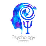 Modern head Logo sign of Psychology. Profile Human. Green Leaves. Letter Psi . Symbol in . Design concept. Brand company. Blue color isolated on white Royalty Free Stock Photos