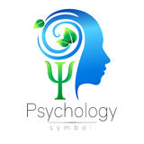 Modern head Logo sign of Psychology. Profile Human. Green Leaves. Letter Psi . Symbol in vector. Design concept. Brand. Company. Blue color  on white background Stock Photos