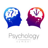 Modern head Logo sign of Psychology. Profile Human. Letter Psi. Creative style Royalty Free Stock Image