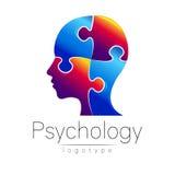 Modern head pussellogo av psykologi Profilmänniska Idérik stil Logotyp i vektor Inskriften av rött färgar lokaliserat över text a Arkivbilder