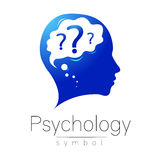 Modern head with question inside brain . sign of Psychology. Profile Human. Creative style. Symbol in vector. Design Stock Photo
