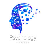 Modern head sign logo of Psychology. Profile Human. Logotype. Creative style. Symbol in . Design concept. Brand company. Blue watercolor color isolated on Stock Photos