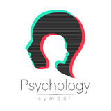 Modern head sign of Psychology. Profile Human. Glitch effect. Symbol in vector. Design concept. Brand company. isolated Stock Image