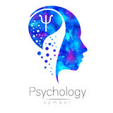 Modern head sign of Psychology. Profile Human. Letter Psi. Creative style. Symbol in . Design concept. Brand company Royalty Free Stock Photos