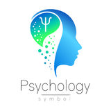 Modern head sign of Psychology. Profile Human. Letter Psi. Creative style. Symbol in vector. Design concept. Brand. Company. Blue color  on white background Stock Photo