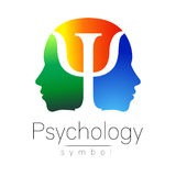 Modern head sign of Psychology. Profile Human. Letter Psi. Creative style. Symbol in vector. Yellow green blue color Royalty Free Stock Images