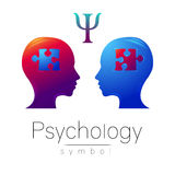 Modern head sign of Psychology. Profile Human. Letter Psi. Puzzle. Creative style. Symbol in vector. Design concept Stock Image