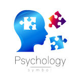 Modern head sign of Psychology. Puzzle. Profile Human. Creative style. Symbol in vector. Design concept. Brand company Royalty Free Stock Photos