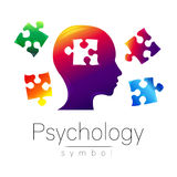 Modern head sign of Psychology. Puzzle. Profile Human. Creative style. Symbol in vector. Design concept. Brand company Stock Images