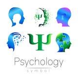 Modern head sign Set of Psychology. Profile Human. Creative style. Symbol in vector. Design concept. Brand company. Green blue orange violet color on white royalty free illustration