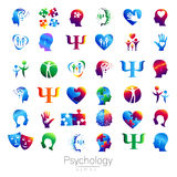 Modern head sign Set of Psychology. Profile Human. Creative style. Symbol in vector. Design concept. Brand company Royalty Free Stock Images