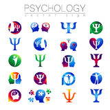 Modern head sign Set of Psychology. Profile Human. Creative style. Symbol in vector. Design concept. Brand company Stock Image