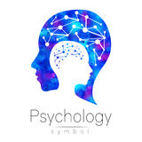 Modern head teckenlogo av psykologi Profilmänniska logotyp Idérik stil Symbol in Inskriften av rött färgar lokaliserat över text  royaltyfri illustrationer
