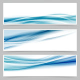 Modern header set with abstract blue wave lines. Web footer set. Vector illustration royalty free illustration