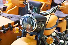 Headlamp heavy motorcycle Royalty Free Stock Images