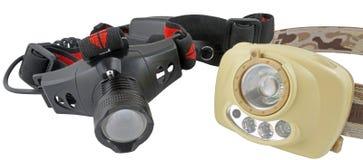 Modern headlamp LED flashlights on white Stock Image
