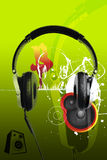 Modern headphones and music urban style Royalty Free Stock Image