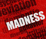 Modern health concept: Madness on Red Wall . Modern health concept: Red Brick Wall with Madness on the it . Madness - on the Wall with Word Cloud Around Stock Image