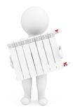Modern Heating Radiator with 3d Person Royalty Free Stock Photos